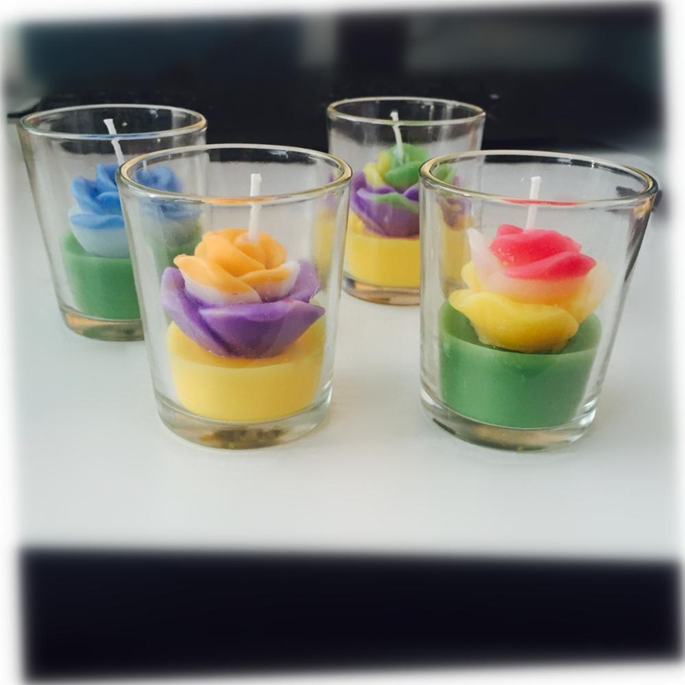Multi color flower shape custom candle in a jar