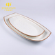 Hot selling porcelain ceramic white color with blue spots long rectangular dinner sushi plate