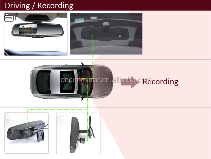 """Auto 4.3"""" Reversing Rear View Dvr Mirror Monitor With Backup ..."""
