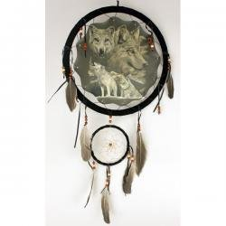 "13"" Dream Catcher - Wolves, 13"" Dream Catcher with Beads/feathers. Second Hanging Dream Catcher Measures 5"". Picture in Center Measures 10"" (Print on One Side Only). Includes Hanging String and Feathers/beads As Shown."