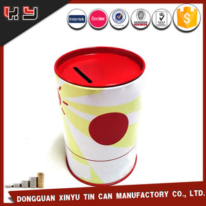 Tin piggy banks for sale/round money tin box/metal coin saver tin