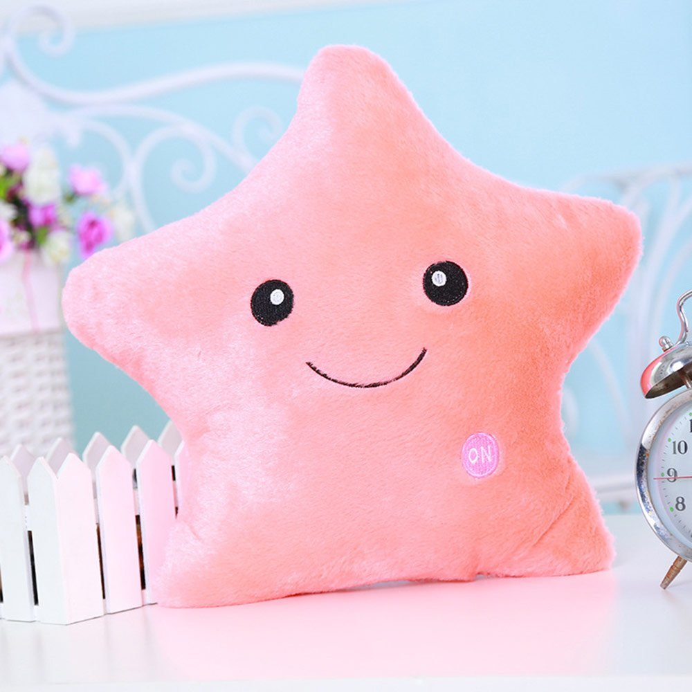 Creative Glowing LED 7 Colour Night Light Plush Pillow Stuffed Baby Toys(Orange)