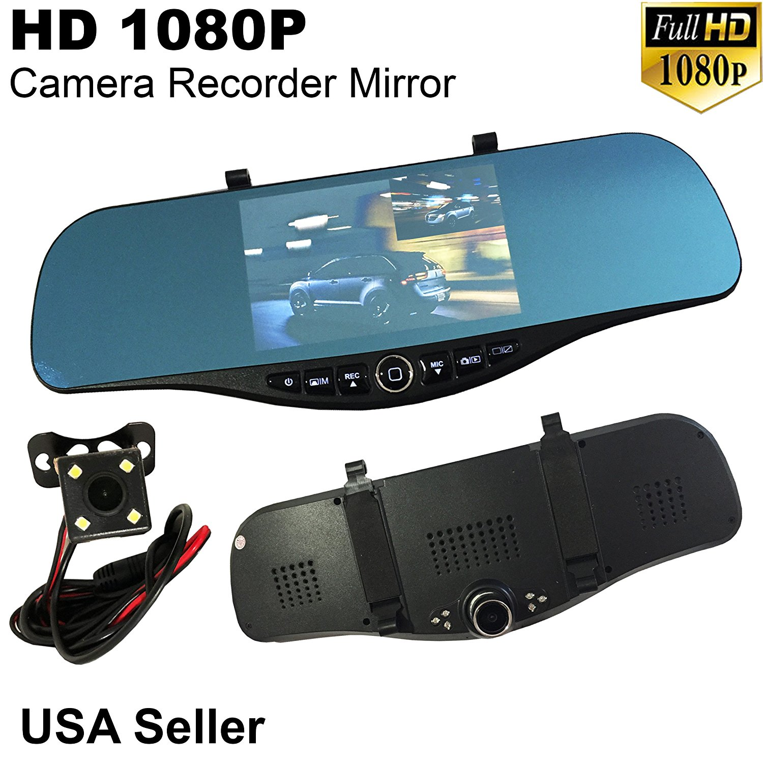 """5.2"""" Monitor 1080P Full HD Blue Tint JDM Auto Front/Backup Rear Camera Video Recorder Rearview Rear-View Inside Mirror"""