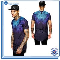 Custom Mens Cotton Crew Neck Curved Hem Longline Tie Dye Printed T-Shirt