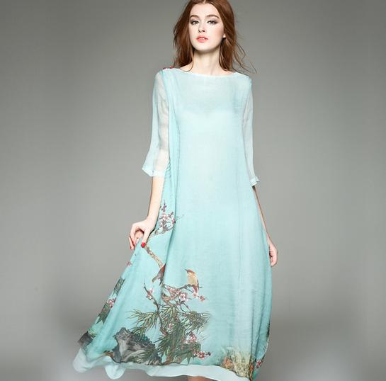High Quality Women Silk Dress For Printing Fine