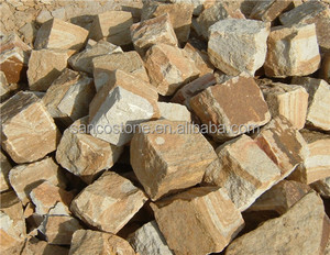 Yellow Wood Grain Sandstone Arbitrary Shaped Paving Sandstone Cube Stone