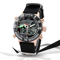 AMST fashion 3ATM waterproof calendar multifunctional double show student watch