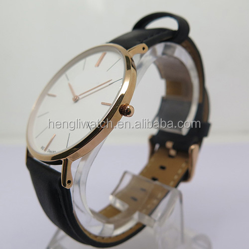 DW style stainless steel quartz watch with only 6mm super slim case in simple but elegant design