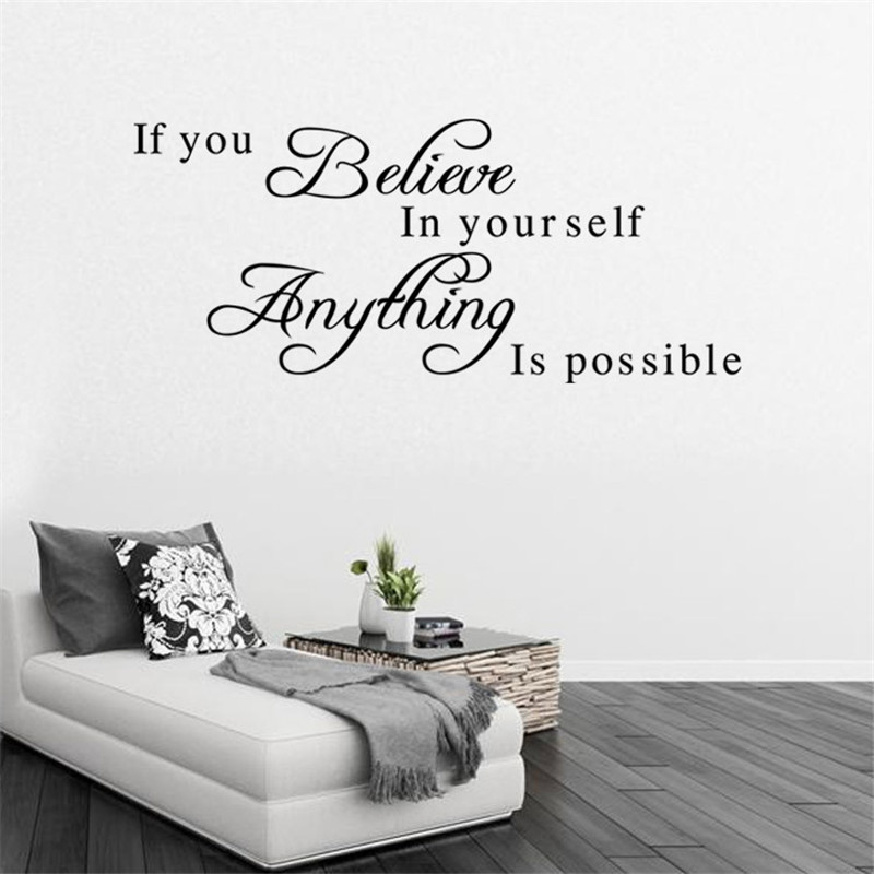 If You Believe in Yourself Inspirational QuotesRemovable Art DIY Wall Sticker Home Decor Room Office Decals 2015 New