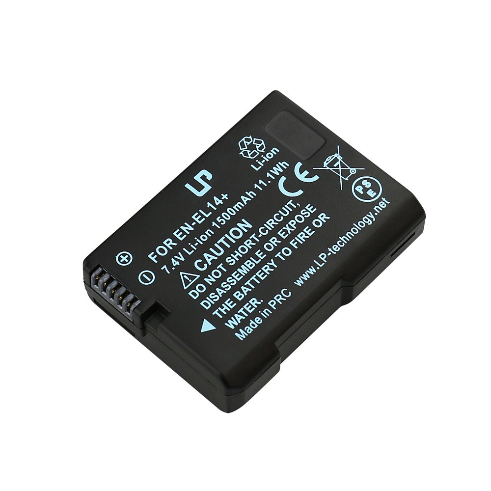 EN-EL14 Battery for Nikon D3100, D3200, D3300, D3400, D5100, D5200, D5300, D5500, DF, Coolpix P7000, P7100, P7700, P7800 Camera Charger