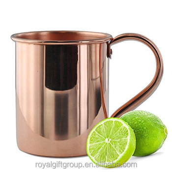 Moscow Mule Copper Mug Handcrafted from 100% Pure Copper - Smooth Finish - No Liner for Ayurveda Health - Riveted Handle
