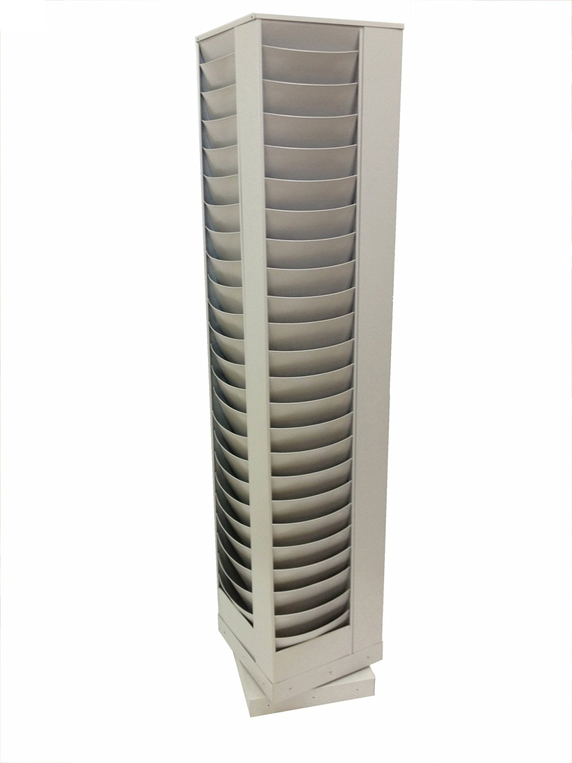 Buddy Products 92-Pocket Curved Steel Rotating Display Rack, 13.75 x 67.63 x 13.75 Inches, Platinum (0866-32)