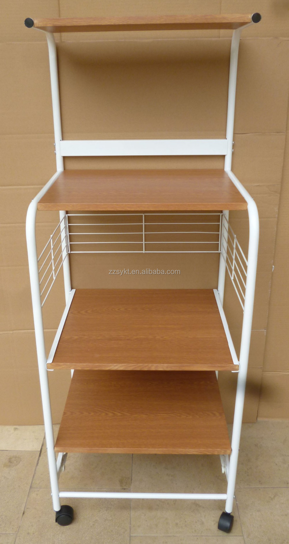 Rolling Metal Wire Wooden Kitchen Trolley Cart Microwave