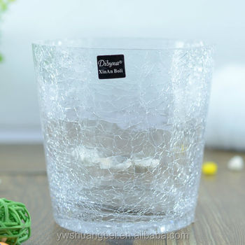 Bulk Crackled Glass Vase For Decoration Cheap Wholesale Different