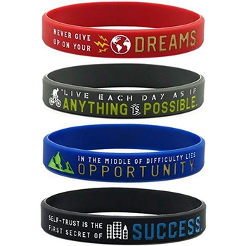 Custom Silicone Wristbands With Quote Rubber Bracelets For Fitness Workout Crossfit Basketball Weight Training