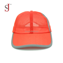 Full Mesh Fabric Outdoor Cap Flat Dri Fit Cap Sports And Running Hat Baseball cap With Reflective Stripe