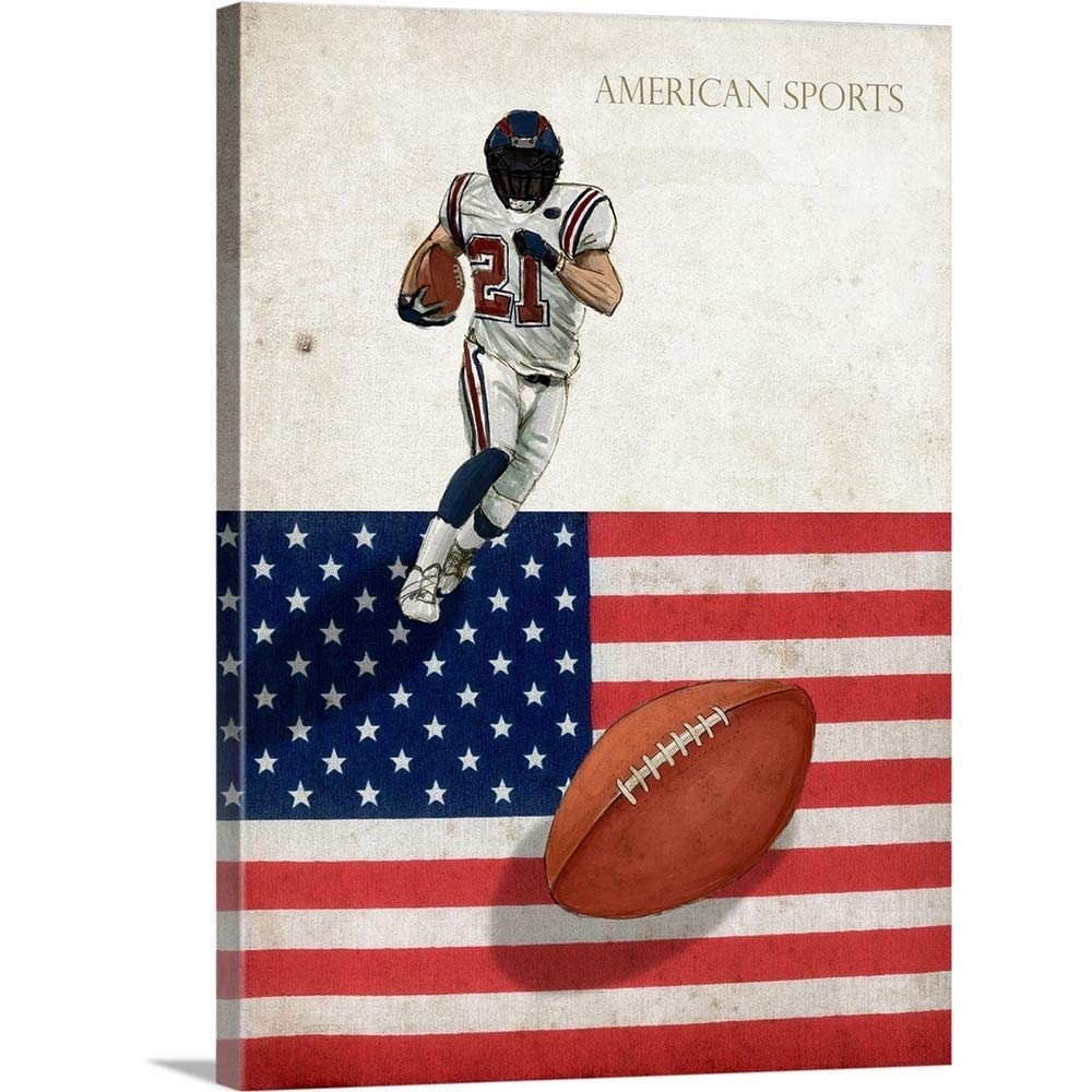 "Gallery-Wrapped Canvas Entitled American Sports: Football 1 by GraphInc Studio 18""x24"""