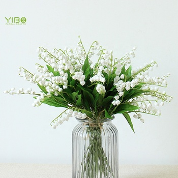 China Plastic Home Decoration White Valley of Lily Flower Real Touch Artificial Flower