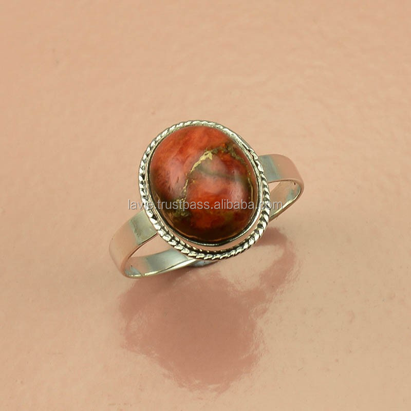 925 Sterling Silver Ring, Natural Orange Copper Turquoise, Jaipur Silver Jewelry