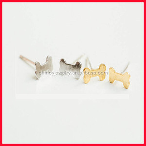 Daily wear allergy free cheap 925 sterling silver brushed plain silver dog bone earring stud cute