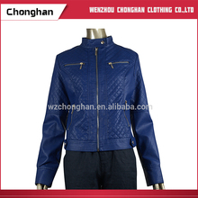 Chonghan Pakistan Spring Blue Color OEM Motorcycle Women Short Leather Jackets