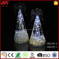 Christmas decorative glass angel crafts with led light
