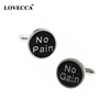 No Pain/ Cain Enamel Cufflinks Men Tuxedo Shirt Cuff Links Buttons
