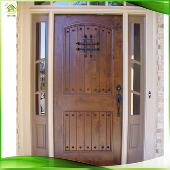 Exterior Commercial Solid Wood Glass French Front Doors For Homes