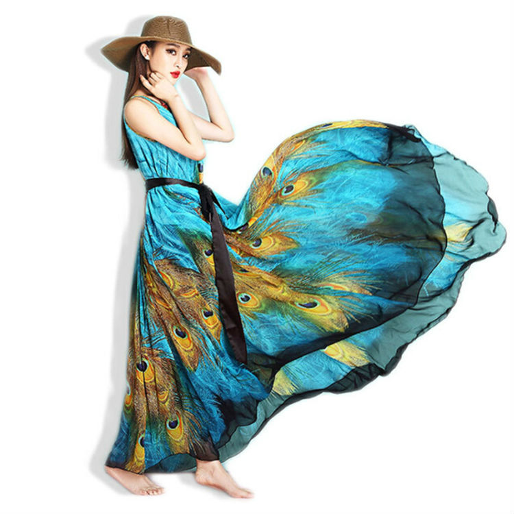 Chiffon Maxi Summer Women Dress 2015 Europian Uk Canada Playa Contrast  Color Plus Size Print Dress 6xl For Sale Kleider