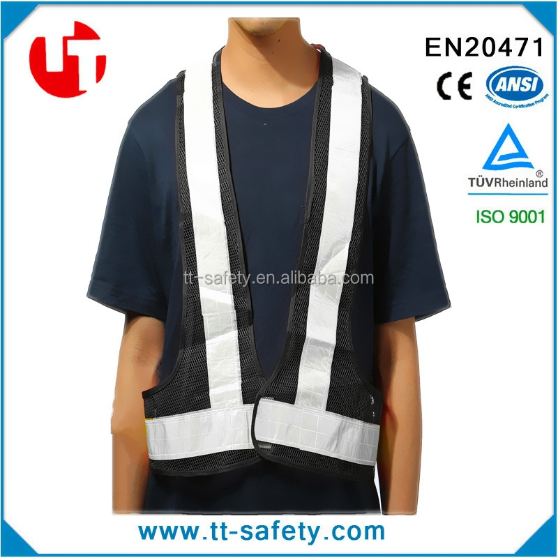 100% Polyester Fabric Black Safety Vest For Construction, Landscaping, Crossing Guard, EMS, Airport, Events and Road Work
