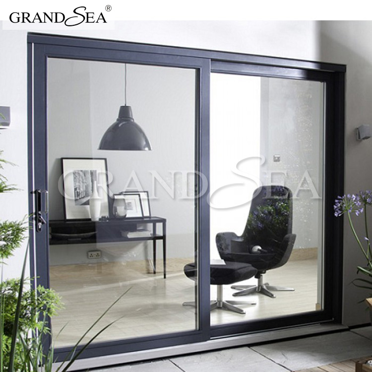 Big size grey color aluminum profile tempered glass sliding door