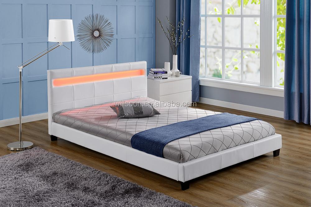 Led Bloque Muebles Dormitorio Diseño Blanco Pu Cuero Marco De La ...