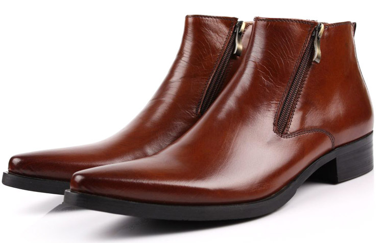 41d91edf1982e Get Quotations · Large size EUR 46 2015 fashion new brown tan Pointed Toe  mens ankle boots genuine leather