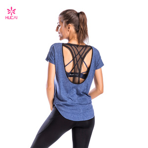 High Quality Fashion Design Sexy Back Women Fitness Yoga T Shirt Wholesale