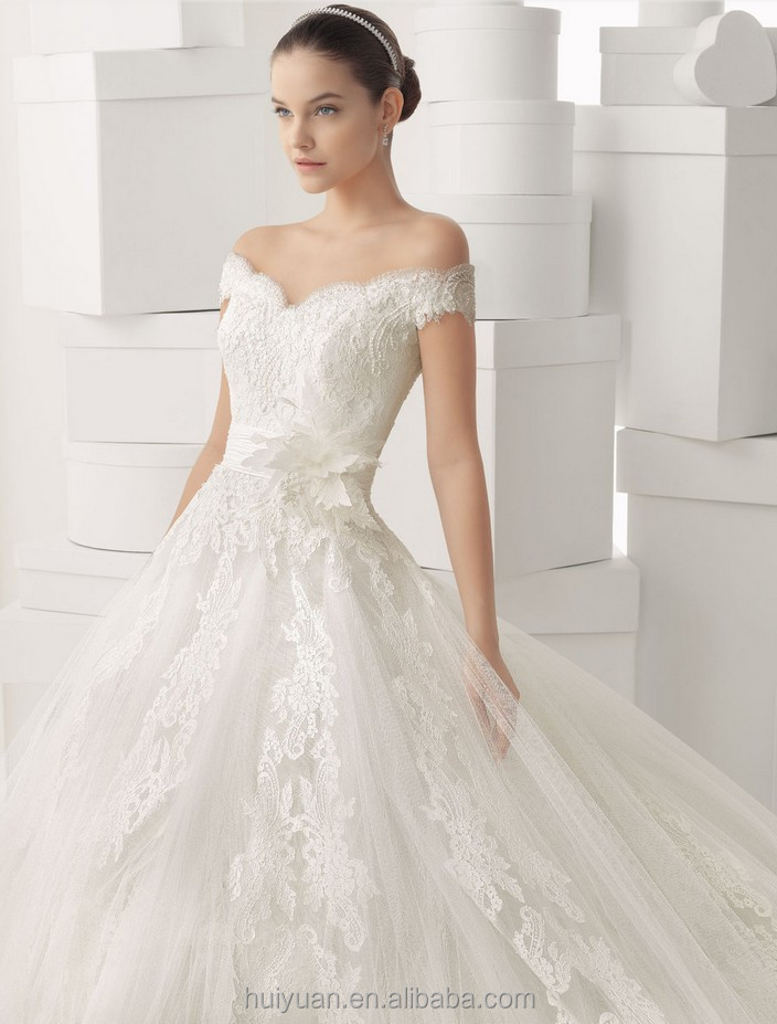White Lace Cap Sleeve Scoop Neck Wedding Dress Prom Ball Gown ...