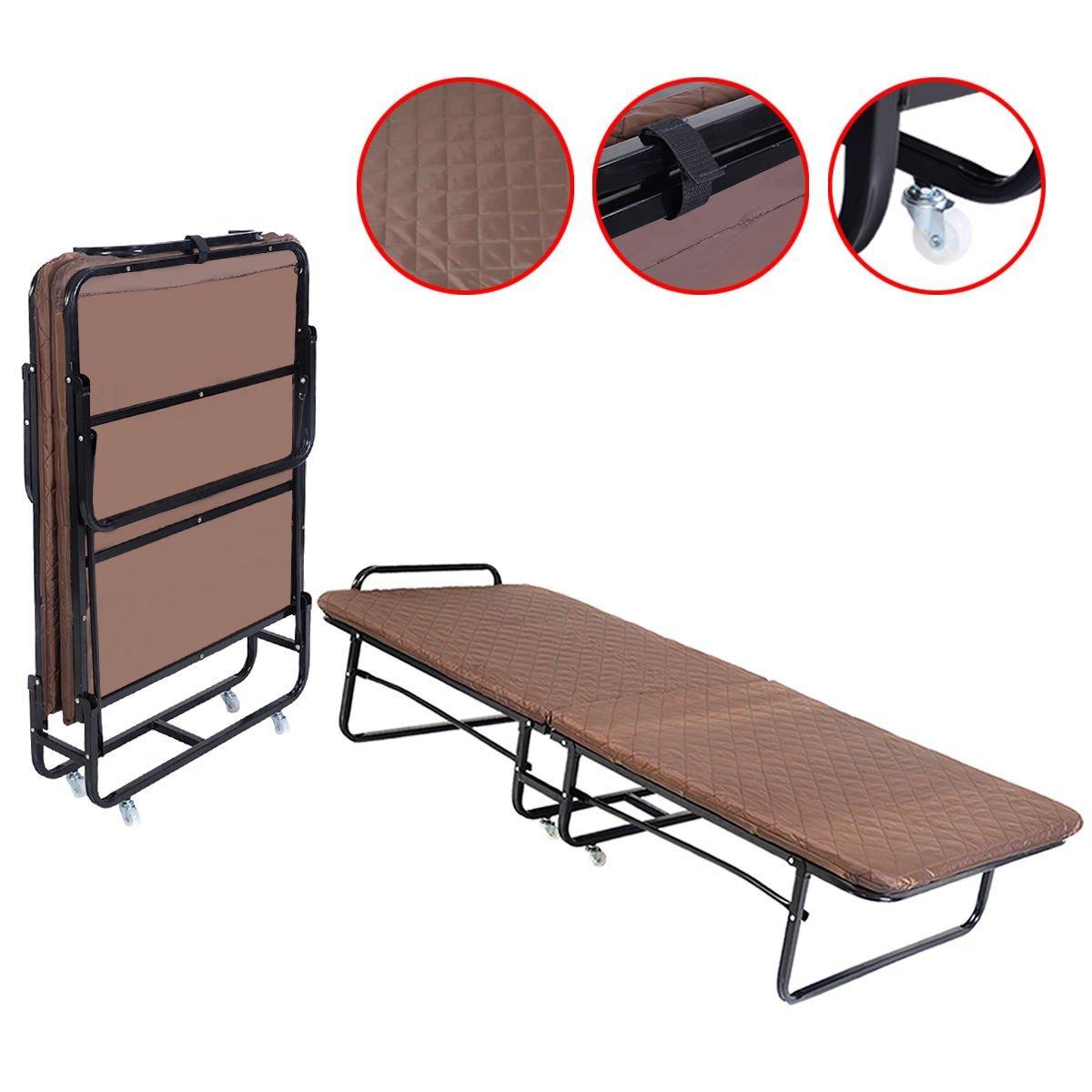 Fanala Folding Cot Hideaway Guest Bed with Foam Mattress - Twin Size