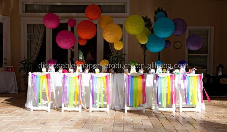 Regenbogen streamer stuhl girlanden partei dekor party for Regenbogen dekoration