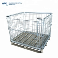 Detachable steel galvanized folding metal cargo storage stackable wire mesh bottomless cages pallet for warehouse