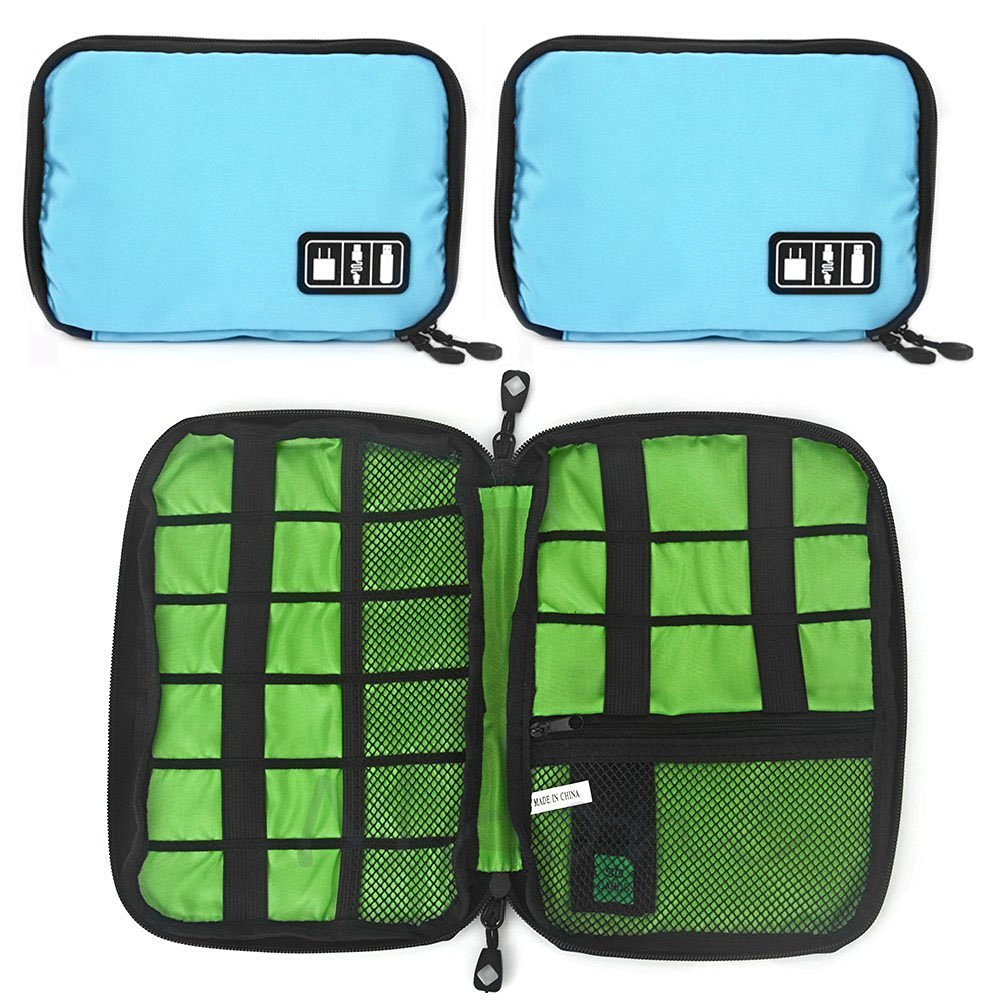 Linsam Cable Organizer Bag / Hard Drive Case/ Electronics Accessories Travel Organizer / USB Drive Pouch Blue
