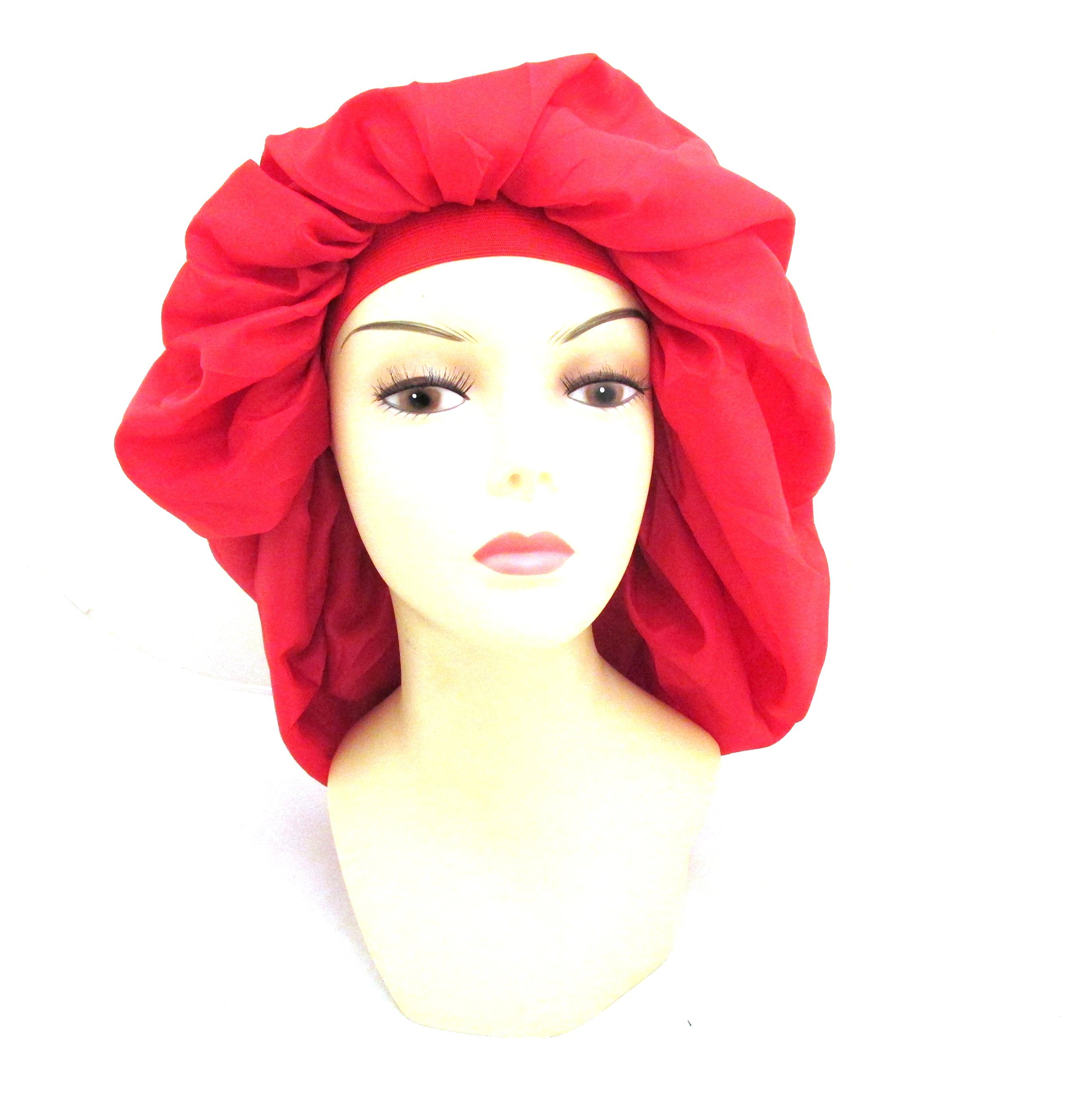 Dream Super Jumbo Night & Day Cap - Red, Satin, fabric, elastic band, cotton, holds hair in place, large, extra large, one size fits all, sleep cap, comfortable, soft material