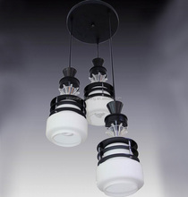 Best sales indoor pendant lights zhongshan ,Africa style black wood and white glass pendant lamp/light (FX1340-3p)