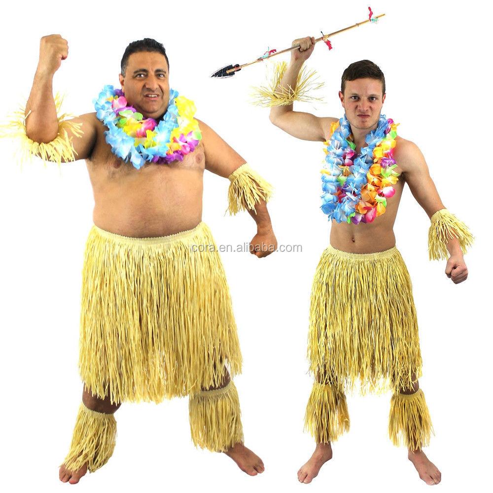 MEN/'S ZULU WARRIOR WITH LEI 6 PC SET HAWAIIAN TRIBE FANCY DRESS AFRICAN TRIBAL