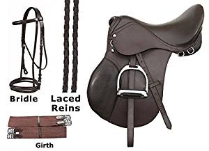15 16 17 18 ENGLISH SADDLE PACKAGE BROWN LEATHER ALL PURPOSE CLOSE CONTACT HORSE JUMPING PLEASURE TRAIL HORSE SADDLE TACK PACKAGE