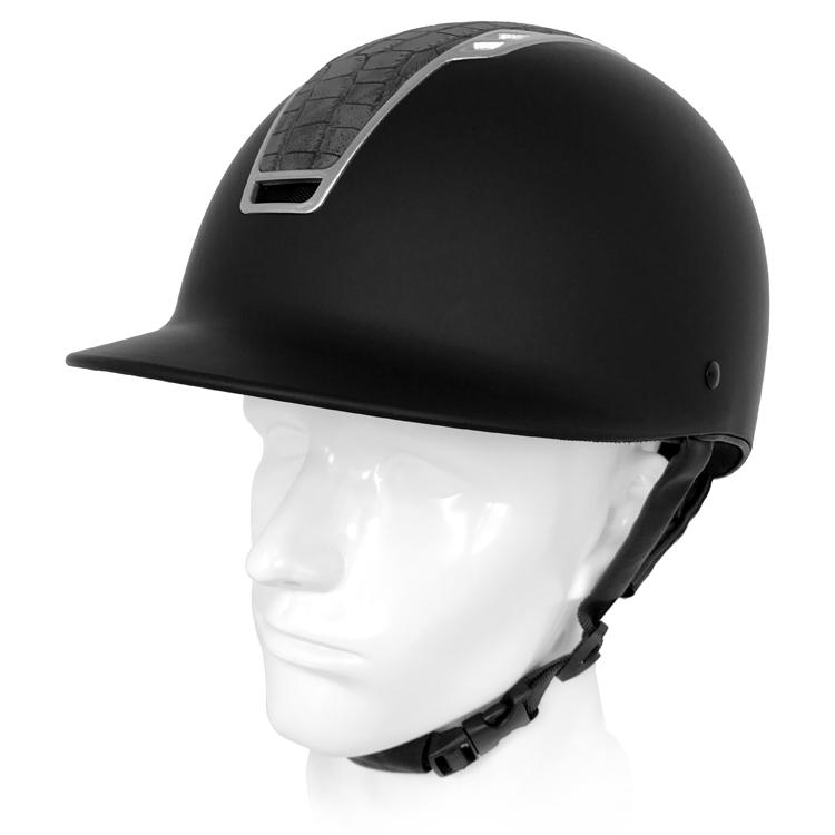 Newest-matte-black-crocodile-horse-riding-helmet