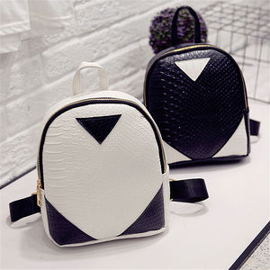 Crocodile pattern triangle stitching contrast color mini backpack handbags fashion simple new ladies pu small backpack