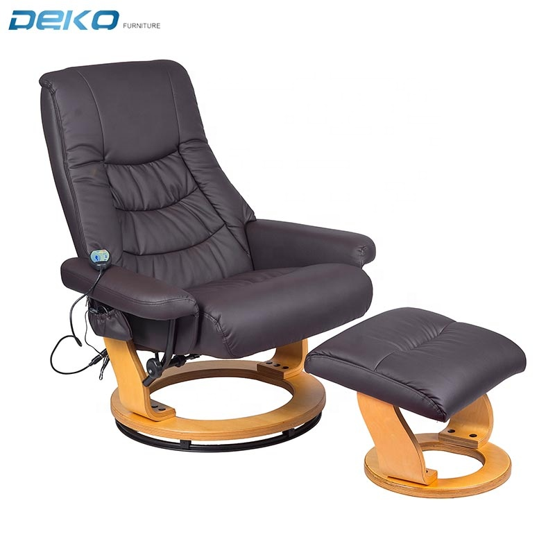 wood base PU leather massage recliner with heat and ottoman
