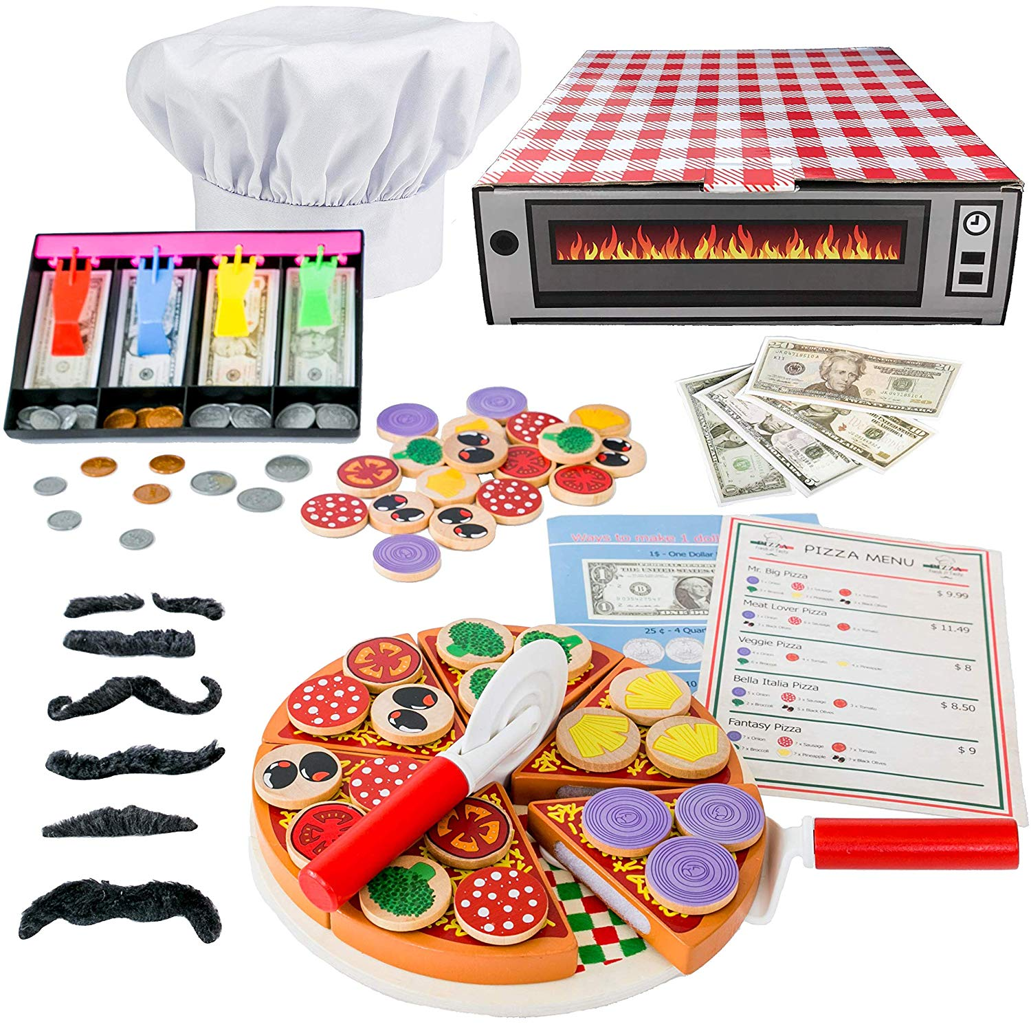 Jogo Jogo Pizza Play Food Set - Top & Bake Wooden Toys with Fake Money & Chef hat (121 pcs) -Most Complete Pizza Set Oven Toy & Sticky tab toppings - Pretend Play Kitchen Chef, Teach & Learn Money