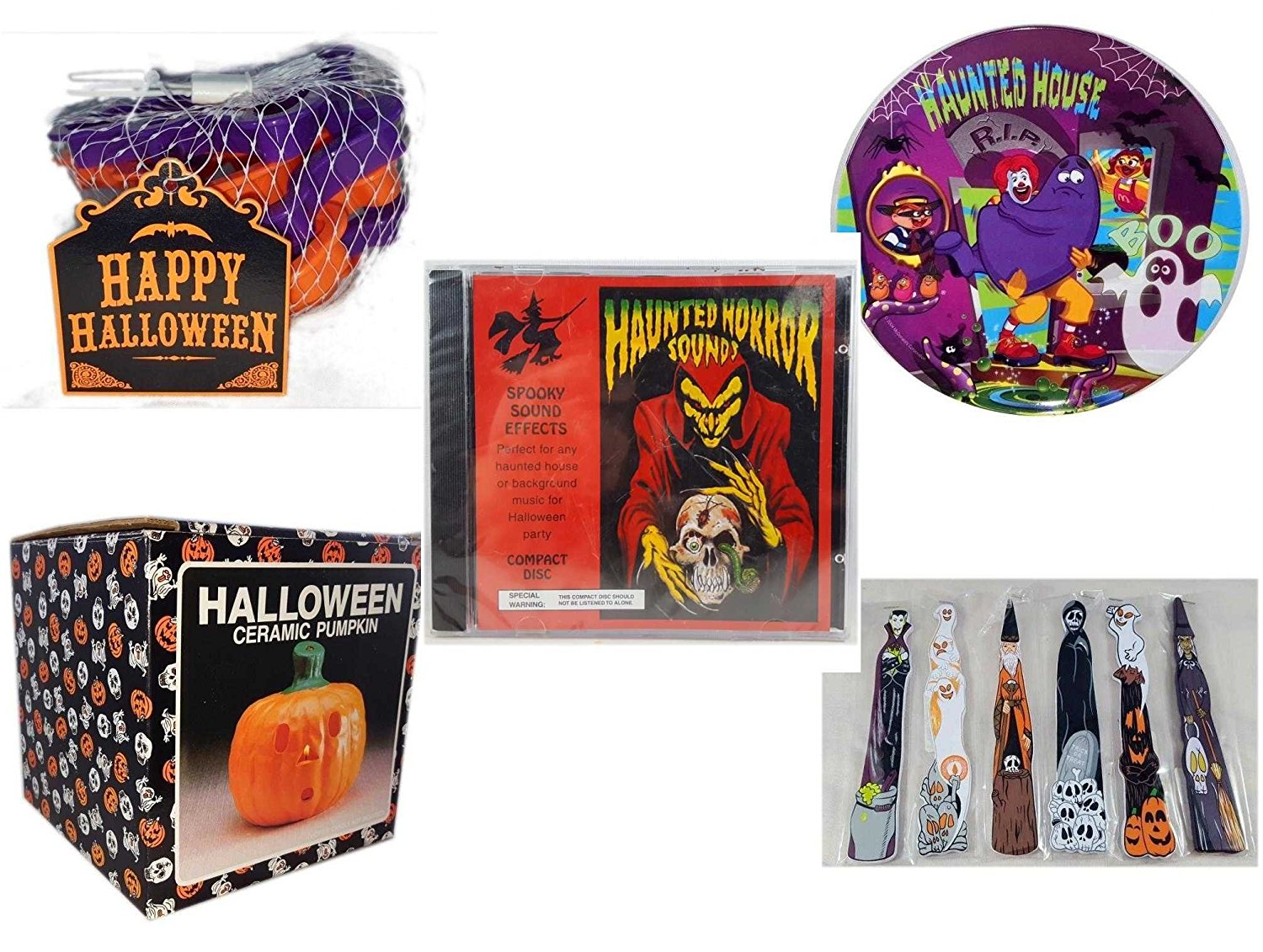Halloween Fun Gift Bundle [5 piece] - Wilton 6-Piece Halloween Cookie Cutter Set - McDonald's Haunted House, RIP, Boo Halloween Plate - Haunted Horror Sounds CD - Halloween Ceramic Pumpkin Candle Ho