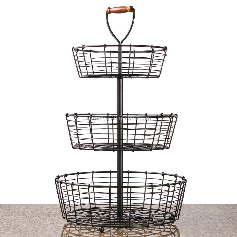 25 5 inch tall 3 tier wrought iron display wire basket buy display wire basket wire basket. Black Bedroom Furniture Sets. Home Design Ideas