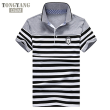 TONGYANG Streep <span class=keywords><strong>Polo</strong></span> Shirts Heren Slim Fit Korte Mouw Gestreepte Poloshirts voor Mannen Zomer Turn-down Kraag Polos In Voorraad